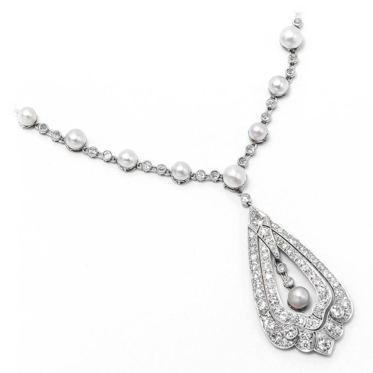 Edwardian Pearl Diamond Platinum Necklace 7