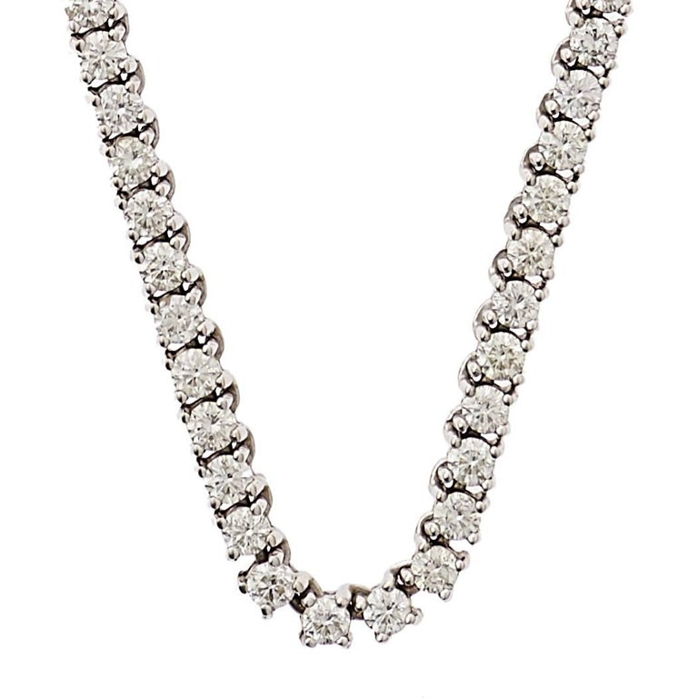 12.75+ carat Round Brilliant - Cut Diamond Necklace. 14k White Gold; 141 Diamonds SI1-SI2, G-H. 36.39 Grams total. 18 1/4 Length.