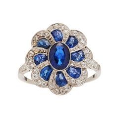 Art Deco Platinum Diamond Sapphire Ring