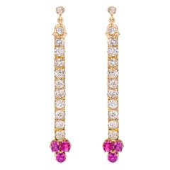Diamond Pink Sapphire Yellow Gold Dangle Earrings