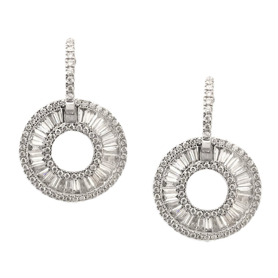 Stunning Baguette And Round Cut 4 74 Carat Diamond Earrings For