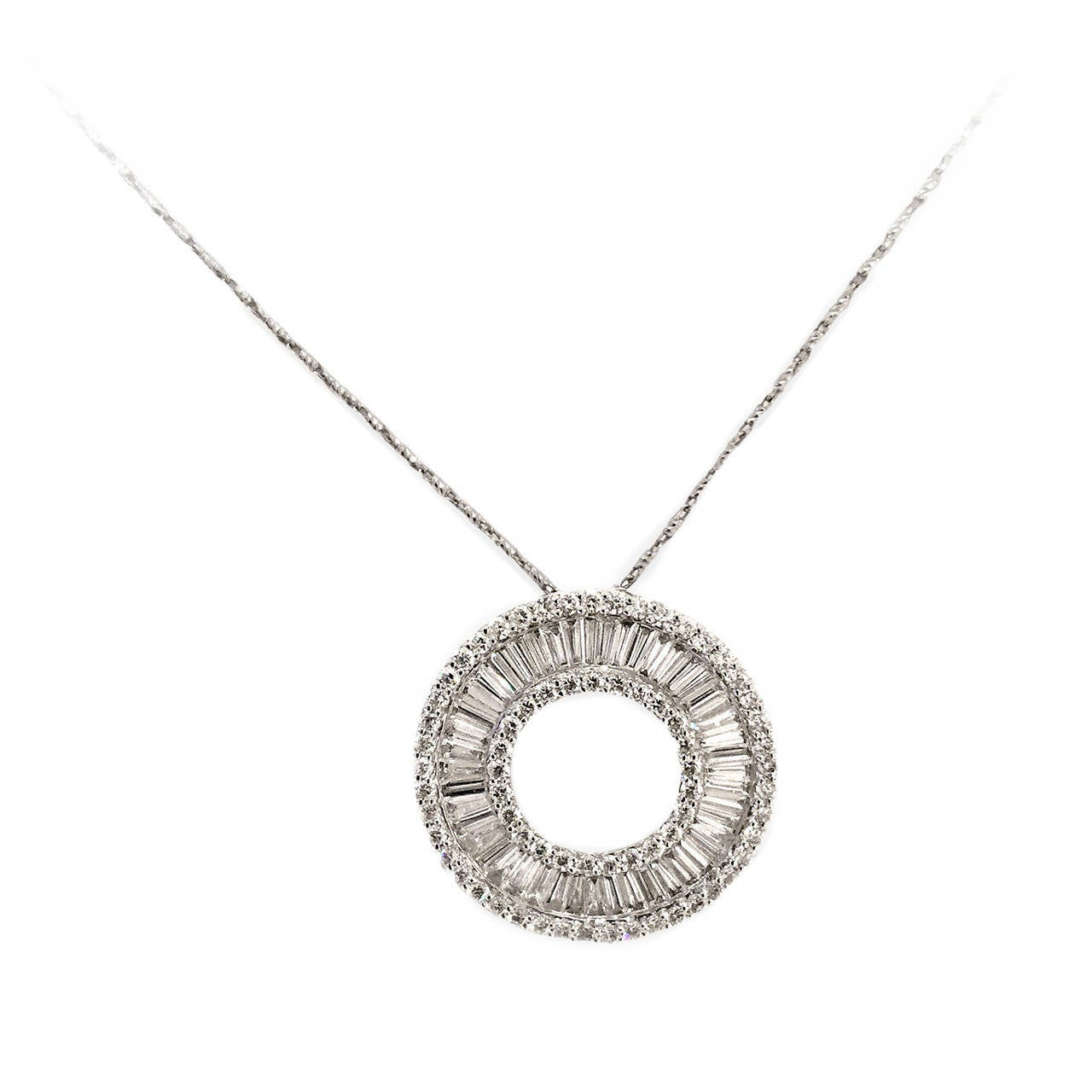 Stunning Contemporary Baguette Diamond Gold Pendant 1
