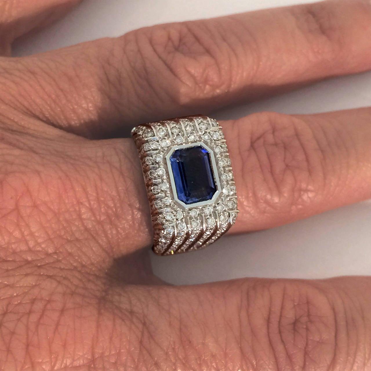 Italian Contemporary Sapphire Diamond Ring 2