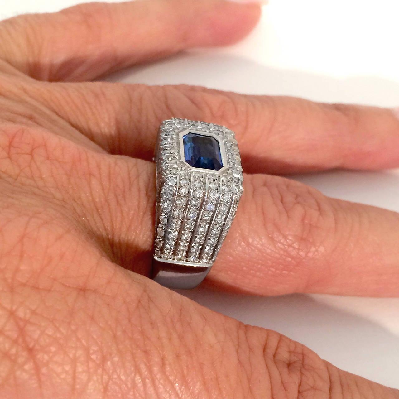 Italian Contemporary Sapphire Diamond Ring 3