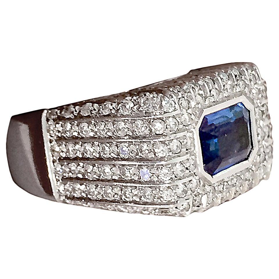 Italian Contemporary Sapphire Diamond Ring 1