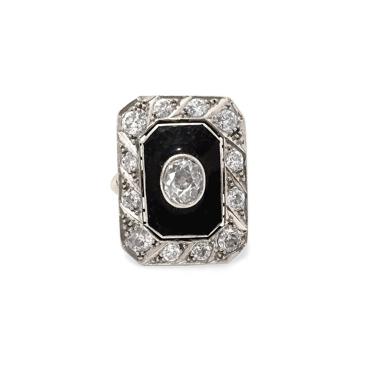 "Art Deco Black Enamel Old Mine-Cut Diamond ""WoW"" ring 2"
