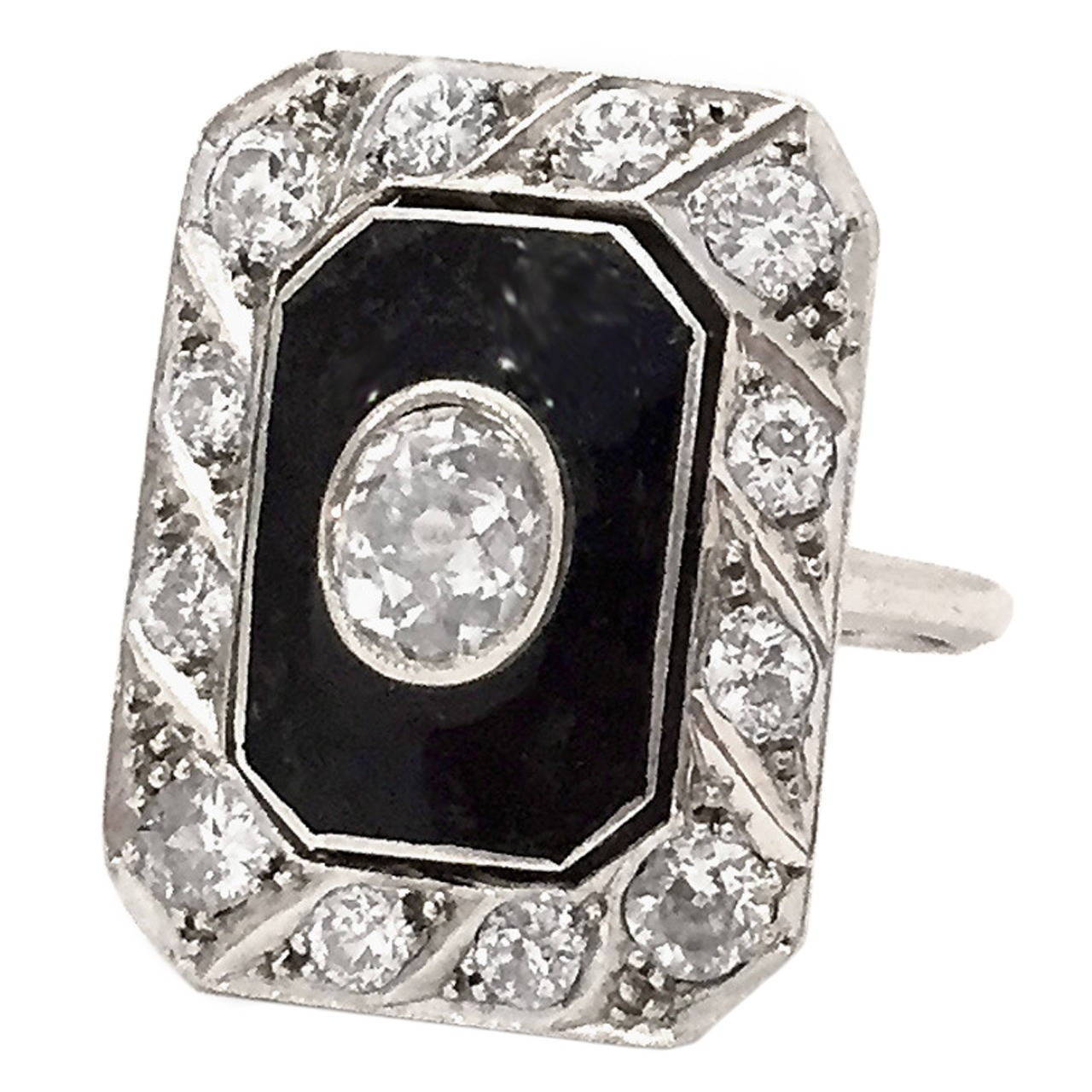 "Art Deco Black Enamel Old Mine-Cut Diamond ""WoW"" ring 1"