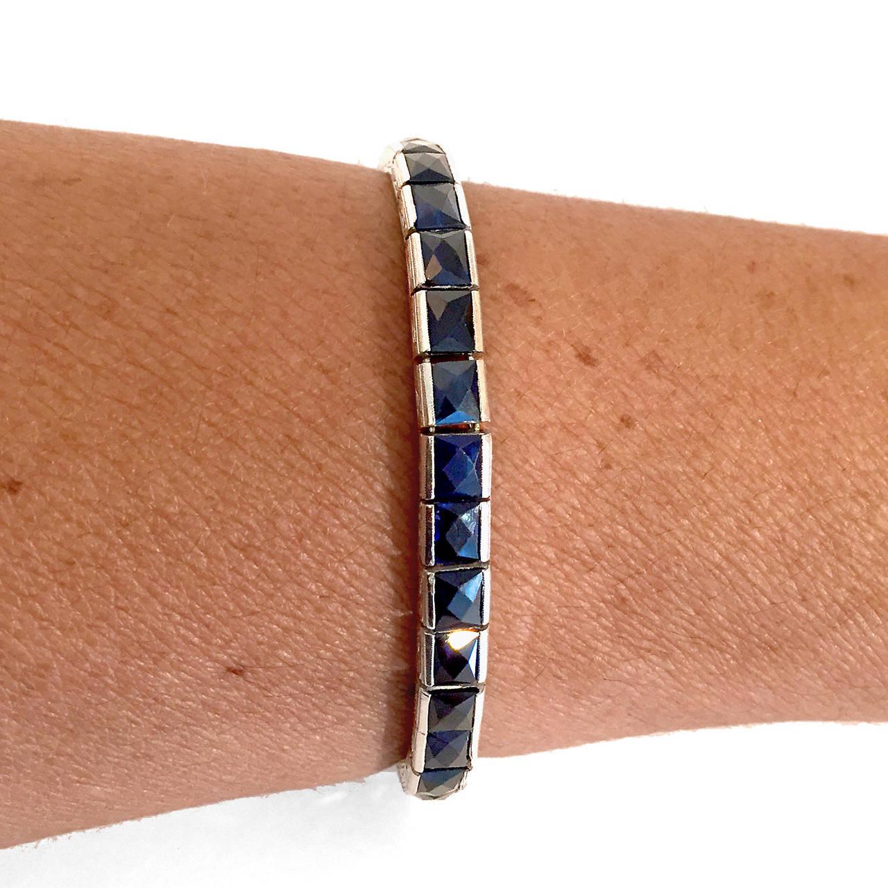 Rare Art Deco French-Cut 13.20 Carat Blue Sapphire Platinum Bracelet 3