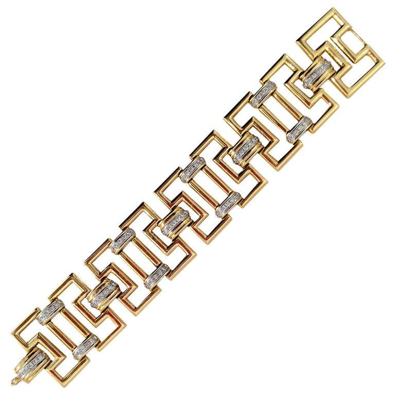 Greek Key Link Diamond Gold Bracelet