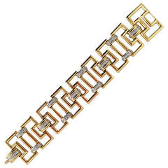 Greek Key Link Diamond Gold Bracelet