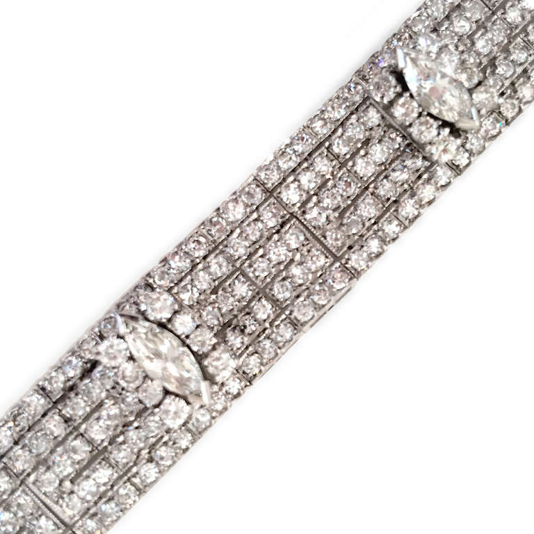Very Fine 14 Carat Diamond Platinum Bracelet 2