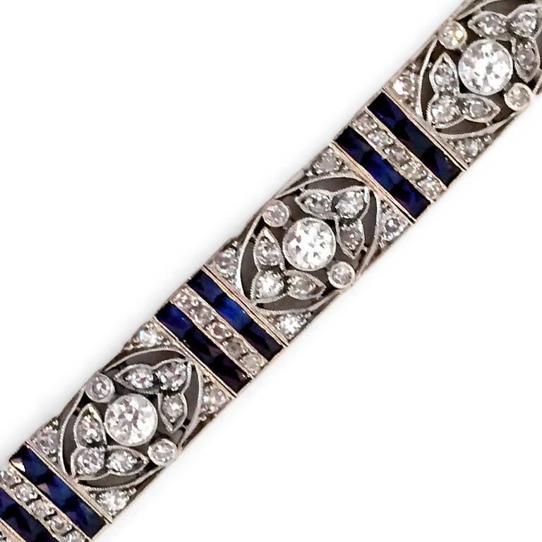 Edwardian Diamond Platinum Floral Design Bracelet 2