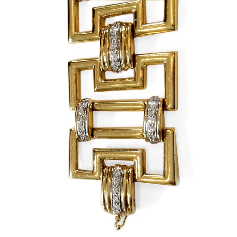 Greek Key Link Diamond Gold Bracelet 2