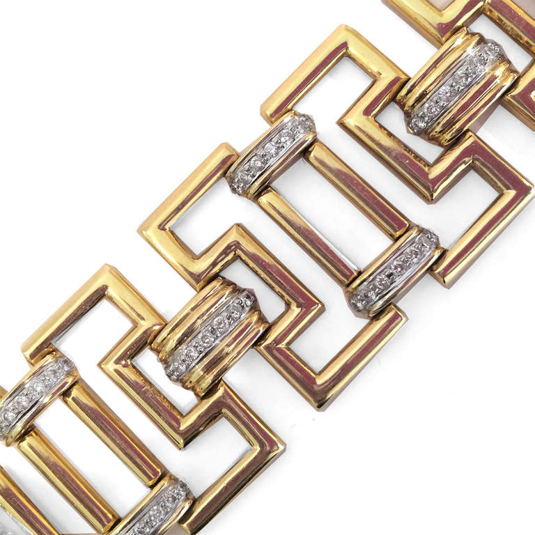 Greek Key Link Diamond Gold Bracelet 3