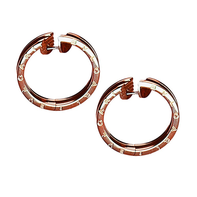 Modern Bulgari Rose Gold Hoop Earrings 3
