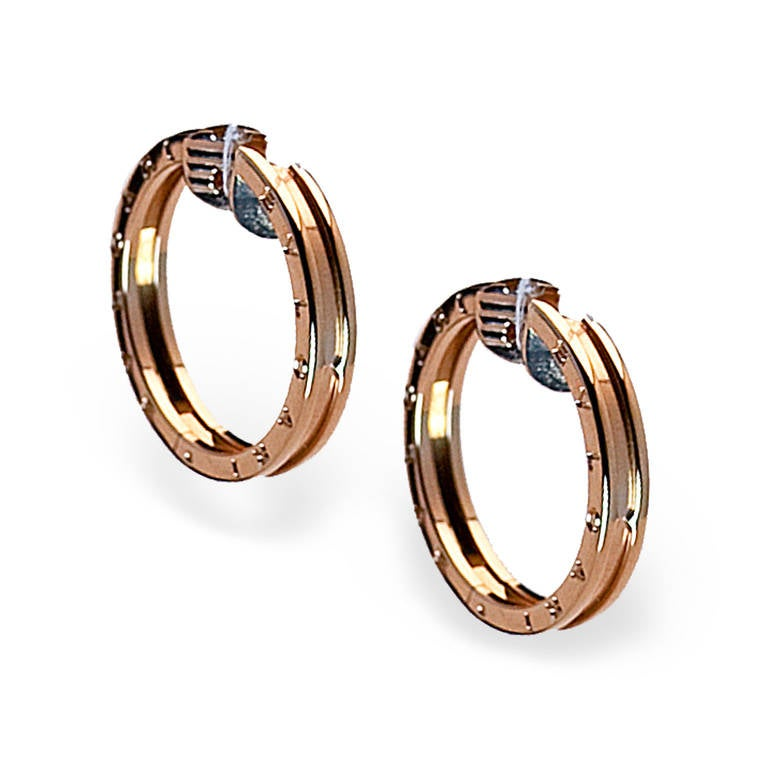Modern Bulgari Rose Gold Hoop Earrings 2