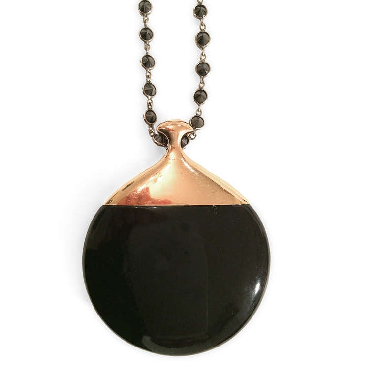 Contemporary Onyx and Black Diamond Pendant and Matching Black Diamond Chain For Sale