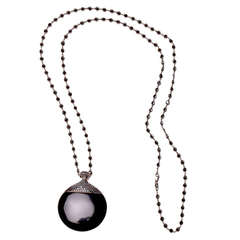 26.72 Carat Onyx and Black Diamond Pendant and Matching Black Diamond Chain