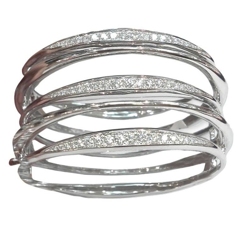 Diamond White Gold Multi-Loop Cuff Bracelet 1
