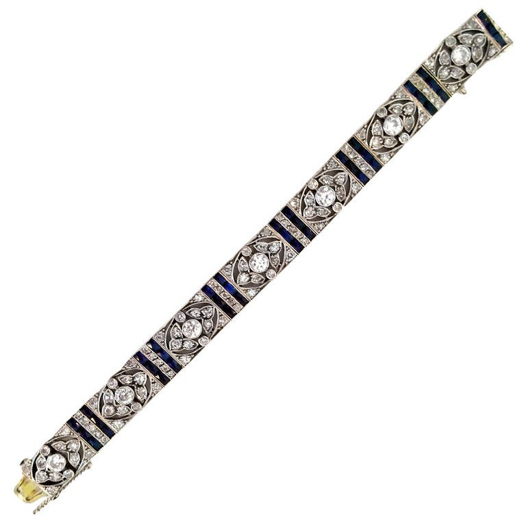 Edwardian Diamond Platinum Floral Design Bracelet 1