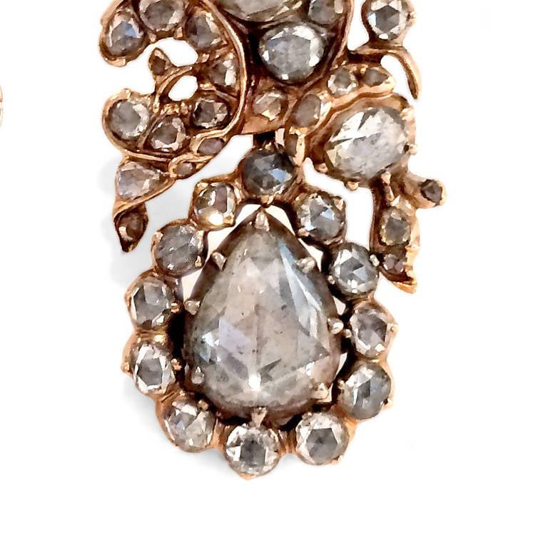 Antique Rose Cut 6 Carat Diamond Silver Gold Floral Drop Earrings 3