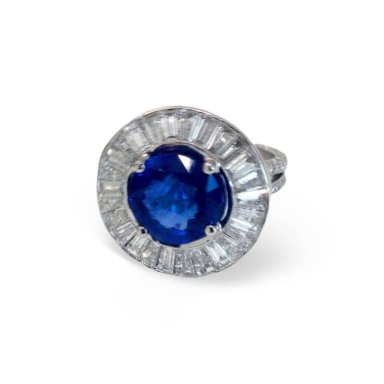 Outstanding Sapphire Diamond Platinum Ring 2