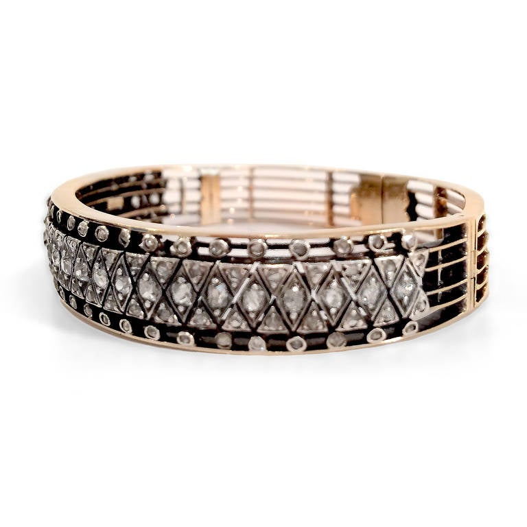 Victorian Rose-Cut Diamond Silver Gold Bracelet 2