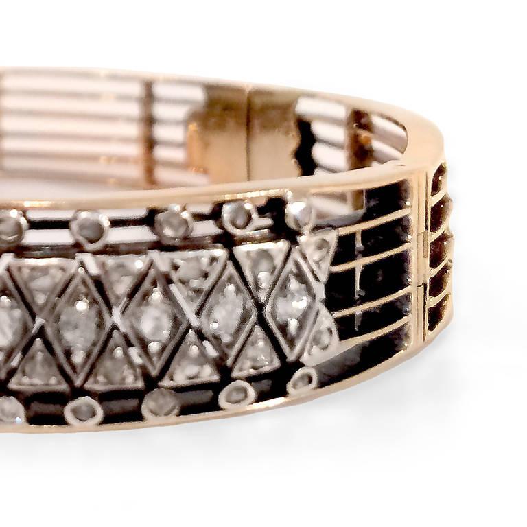 Victorian Rose-Cut Diamond Silver Gold Bracelet 3