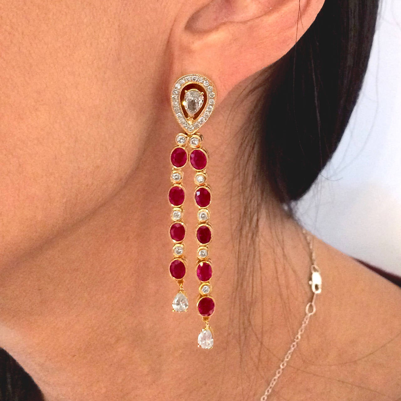 Dripping Burma Ruby and  Diamond Earrings 4