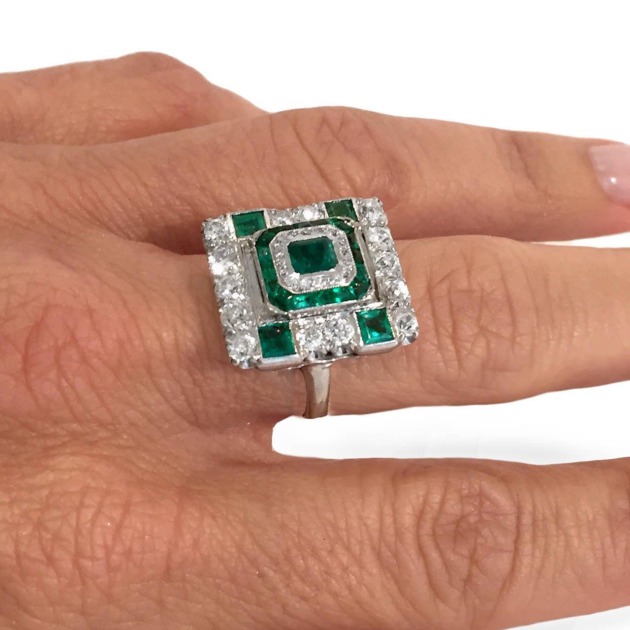 deco princess cut emerald gold ring at 1stdibs