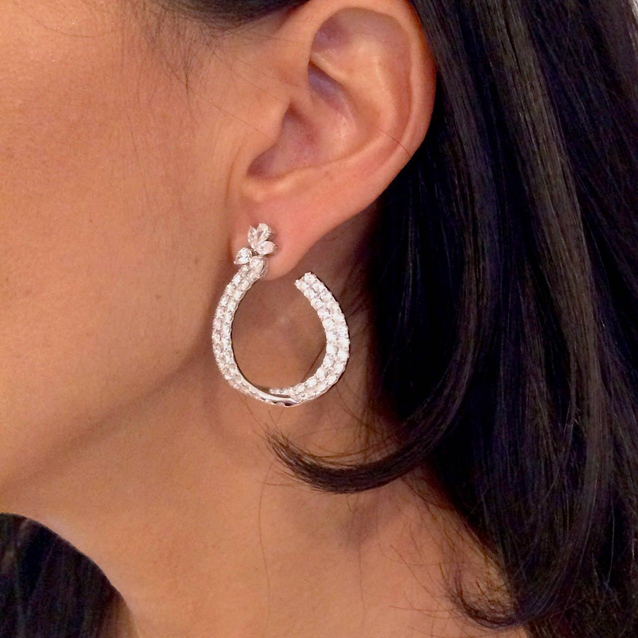 Spectacular 7 Carat Diamond Gold Hoop Earrings 3