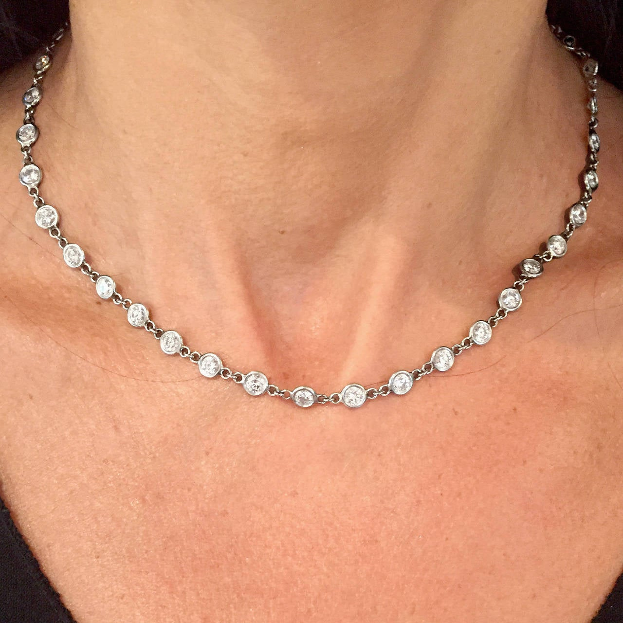 Women's Diamond Platinum 7.77 Carat Necklace For Sale