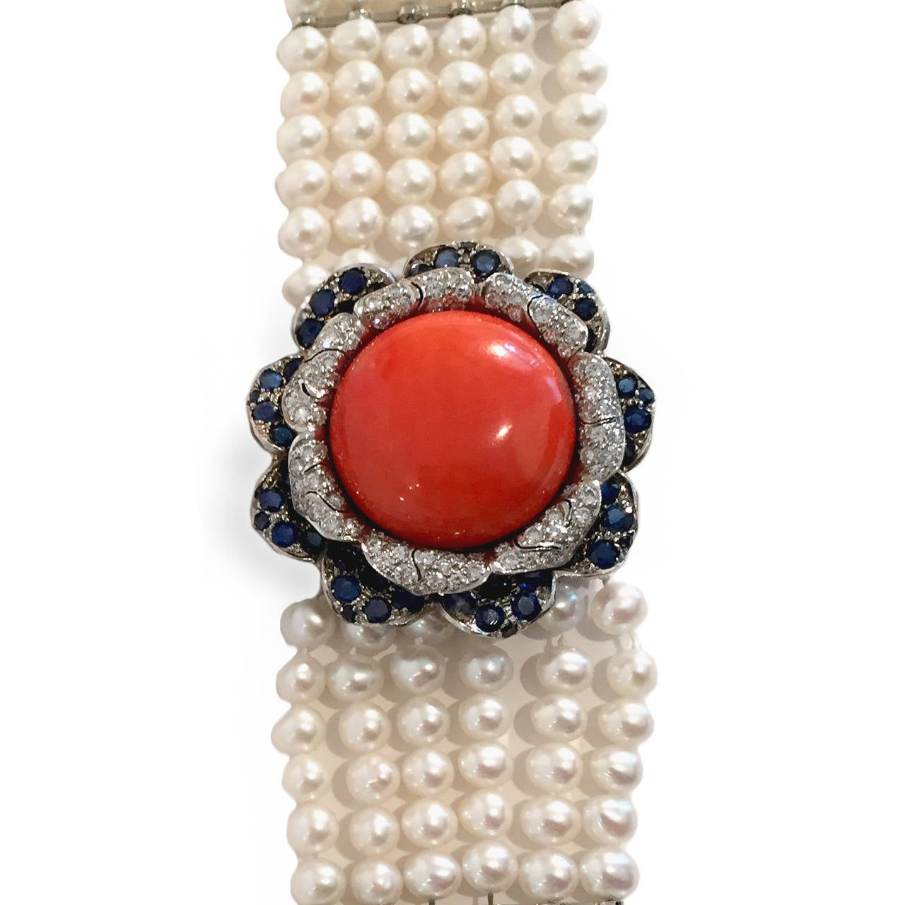 Pair of Coral Cultured Pearl Sapphire Diamond Gold Bracelets 2