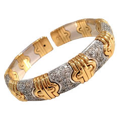 Diamond Geometric Pattern Gold Bangle Bracelet