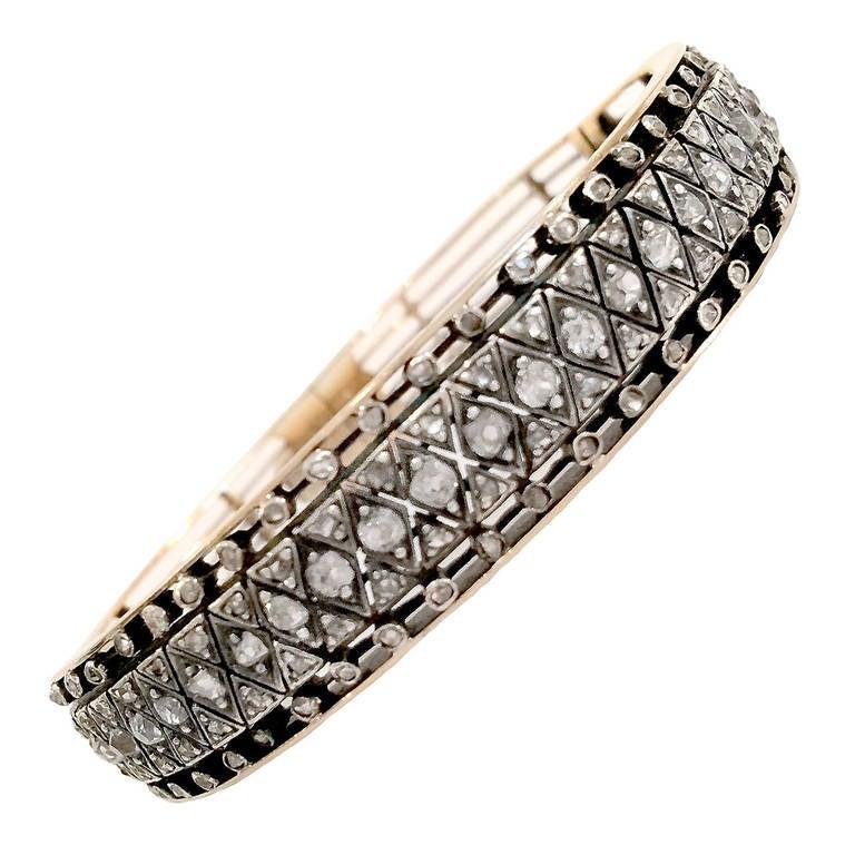 Victorian Rose-Cut Diamond Silver Gold Bracelet 1