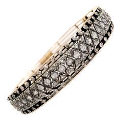 Victorian Rose-Cut Diamond Silver Gold Bracelet