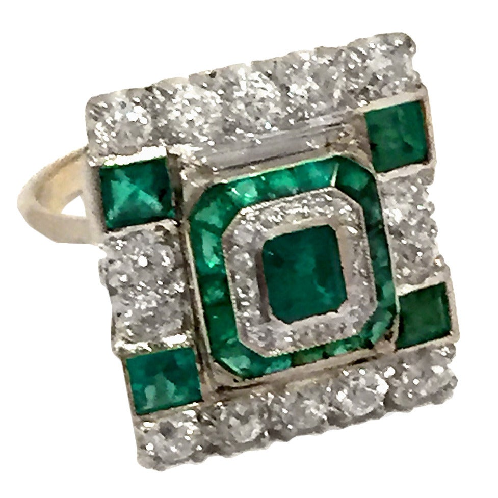deco princess cut emerald gold ring at 1stdibs
