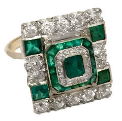 Art Deco Princess-Cut Emerald Diamond Gold Ring