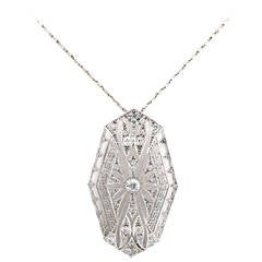 Art Deco Diamond Platinum Filigree Pendant