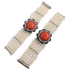 Pair of Coral Cultured Pearl Sapphire Diamond Gold Bracelets