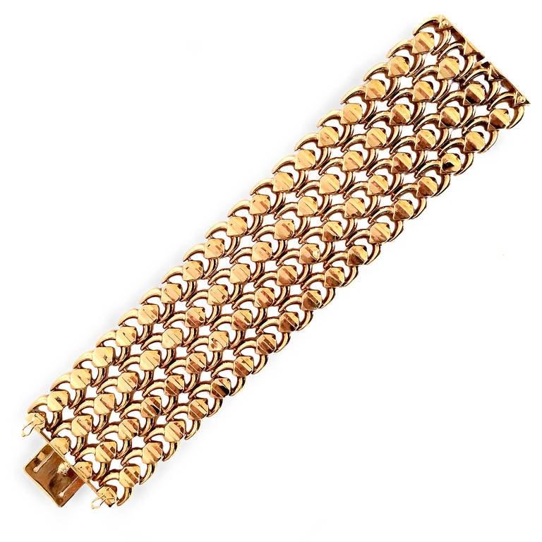 Modern Pink Gold Wide Link Bracelet For Sale