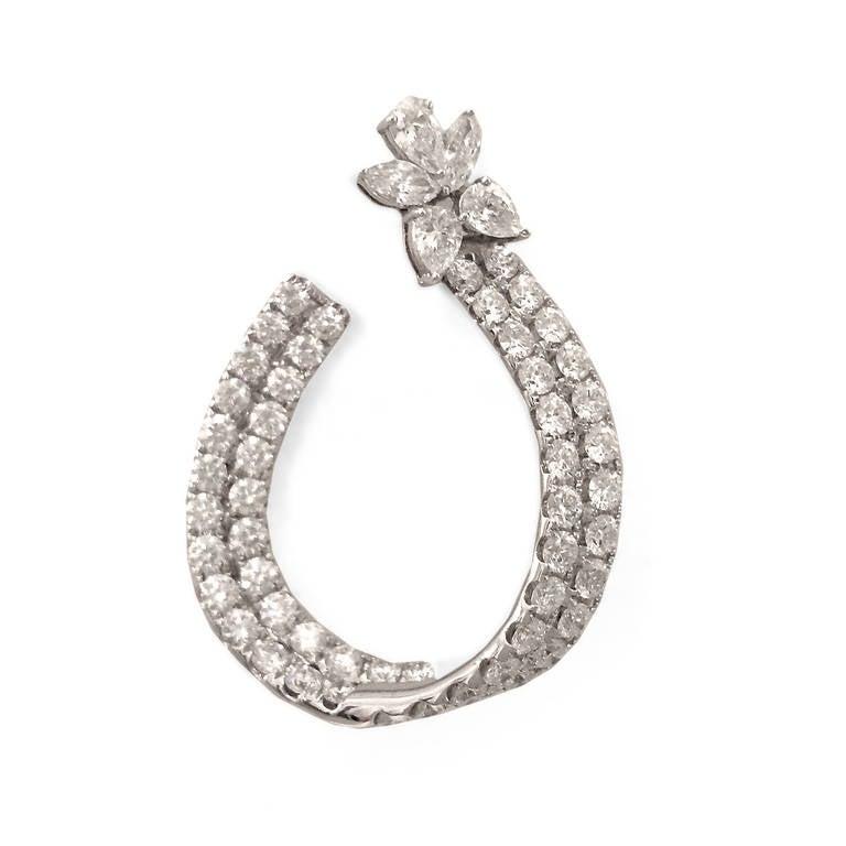 Spectacular 7 Carat Diamond Gold Hoop Earrings 2