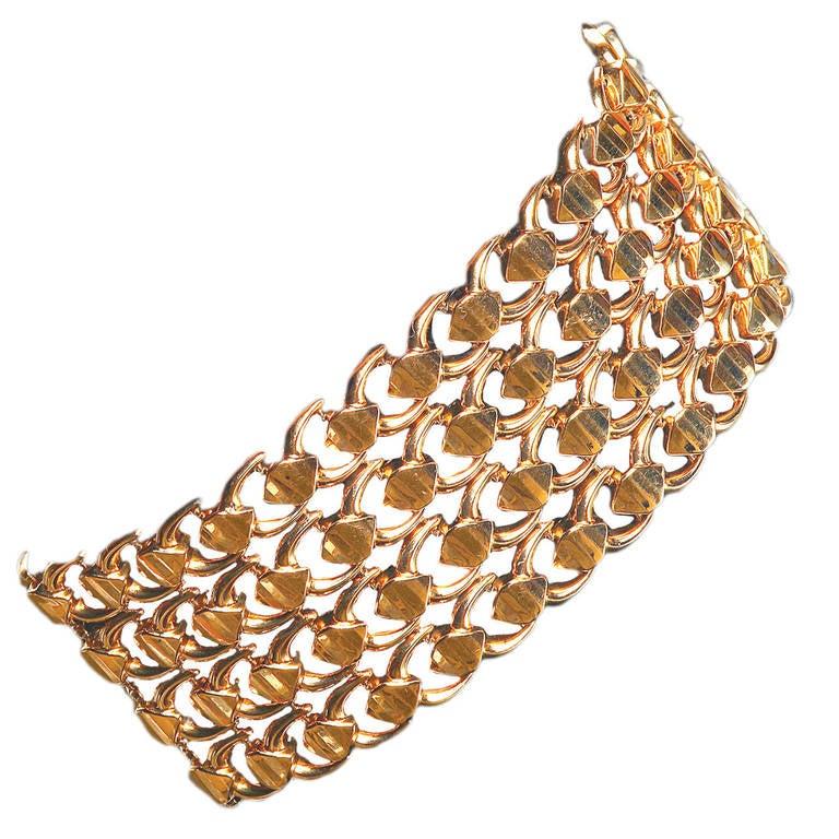 Pink Gold Wide Link Bracelet For Sale