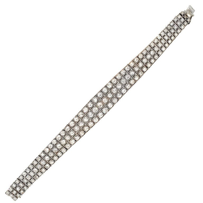 Art Deco 8  Carat Diamond Platinum Bracelet 1