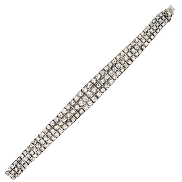 Art Deco 8  Carat Diamond Platinum Bracelet For Sale