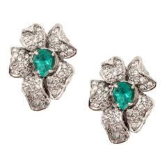 6.5 Carat Emerald Diamond Gold Flower Earrings