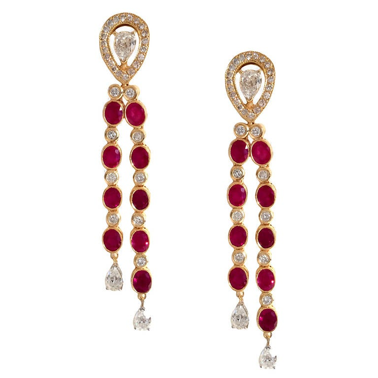 Dripping Burma Ruby and  Diamond Earrings 2