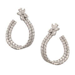 Spectacular 7 Carat Diamond Gold Hoop Earrings
