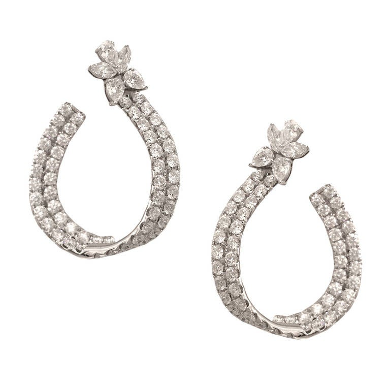 Spectacular 7 Carat Diamond Gold Hoop Earrings