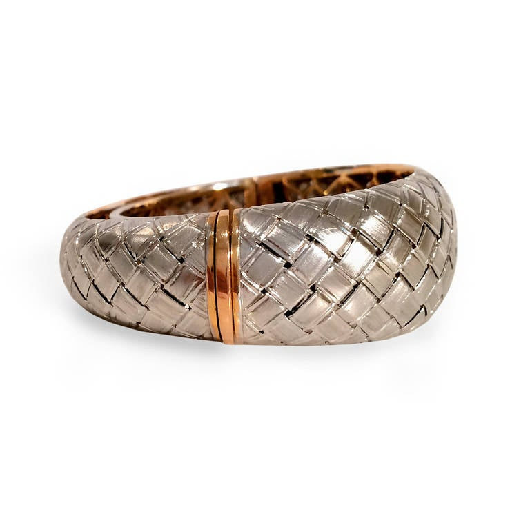 White and Yellow Gold Woven Bangle 2